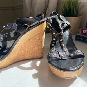 Black Jessica Simpson Wedges with Gold Studs